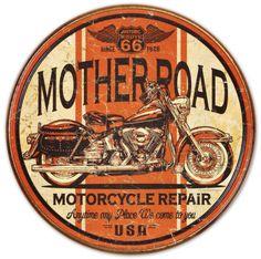 Mother Road Motorcycle Repair Tin Sign    Garage art