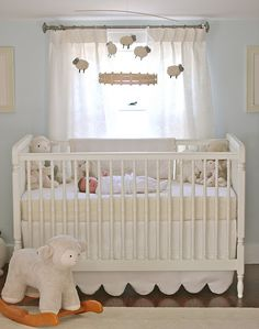 Light Blue Nursery Soft Lambs Sheep Baby Room Cream White