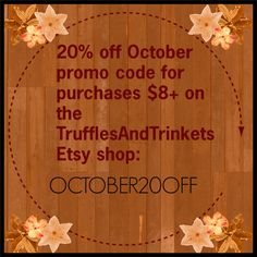 20% ALL PURCHASES $8+ ON TRUFFLESANDTRINKETS  Promo code, coupon code, discount, autumn discount, autumn coupon code, dragon sculptures, dragon miniatures, kawaii charms, handmade figurines, clay dragons, clay figurines, robot sculptures, kawaii miniatures, charms, keychains, home décor, desk décor, desktop buddies, etc.
