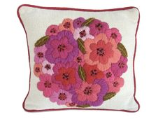 Vintage Pillow Vintage Embroidery Crewel Pillow by GreenJinni