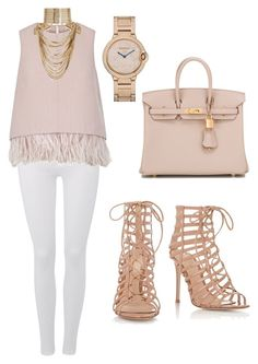"""""""Untitled #131"""" by lillylilit on Polyvore featuring 7 For All Mankind, The 2nd Skin Co., Gianvito Rossi, Hermès and Rosantica"""