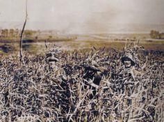 """""""Tromper l'ennemi – L'invention du camouflage moderne en 1914-1918"""" de Cécile Coutin. Des soldats allemands réalisent un essai de camouflage dans un champ."""