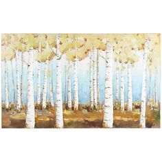 You can almost hear a rustle from the golden leaves of the Aspen trees depicted on our hand-painted artwork. That effect, plus the backdrop of blue sky contrasting with earthen hues, allows this sizable canvas to impart a sense of serenity while changing the landscape of your living space.