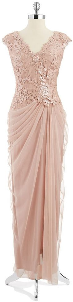 Tadashi Shoji Embroidered Mock Top Gown Antique Pink For my mom Lovely Dresses, Beautiful Gowns, Elegant Dresses, Formal Dresses, Dress Brokat, Kebaya Dress, Mom Dress, Lace Dress, Bride Gowns