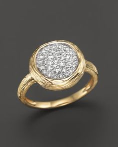 Diamond Circle Statement Ring in 14K Yellow Gold, .40 ct. t.w. - 100% Exclusive $1,300.00 A brilliant statement ring in 14K yellow gold with pavé diamonds and a textured finish.