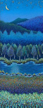 Crescent Moon Birches.Archive of Sold Original Paintings by Vermont Pastel Artist, Daryl Storrs – Daryl V. Storrs Artworks