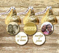 Hershey Kiss Stickers Anniversary, 50th Anniversary Stickers, 50th Anniversary Favours, Golden Anniversary, Anniversary Photo, Photo Favours