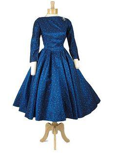 1950's Iridescent Blue Brocade Full Skirt Party Dress