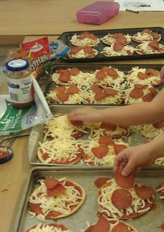Preschool Style Pizza Party!   Sandwich Thins, pizza sauce, cheese, and pepperoni.