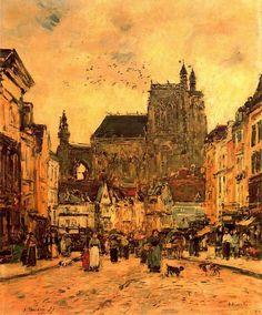 Eugéne Boudin. La plaza de la iglesia de Saint Vulfrand en Abbeville. 1884.