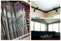 DIY sunroom curtain rods! For my kitchen bay won indie.