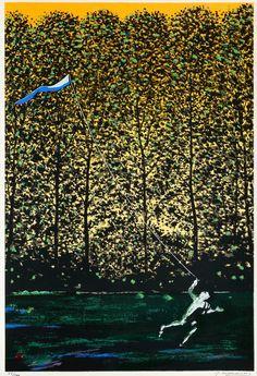 Leija - Juhani Linnovaara Finnish, b.1934- Serigrafia 69/100, 47x32 cm.