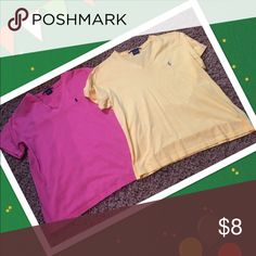 💥SOLD💥 Pink and Yellow Polo shirts in excellent condition.  No stains, rips or flaws.  Both shirts are included for $8.00 Size Medium.  Thanks for looking.  Take a look at my closet for bundle packages.  Happy shopping Polo by Ralph Lauren Tops Tees - Short Sleeve