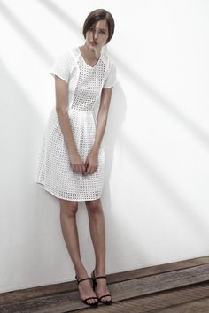 STRIFE ORGANZA COTTON DRESS IN BRIGHT WHITE. www.fallwinterspringsummer.com Fall Winter Spring Summer, Short Sleeve Dresses, Dresses With Sleeves, Winter Springs, Cotton Dresses, Bright, Collection, Products, Fashion