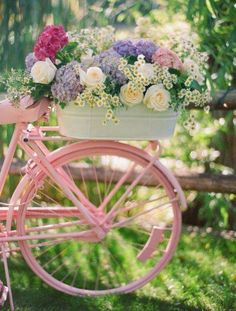 Beautiful bicycle and flowers