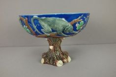 WEDGWOOD majolica cobalt comport with monkeys surrounding bowl with tree trunk foot, great color and detai