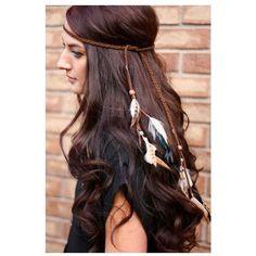 Feather Headband indian headdress native american headband, hippie... ❤ liked on Polyvore featuring accessories, hair accessories, head wrap headband, feather hair accessories, boho headbands, feather headbands and indian hair accessories