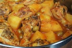 Chicken Fricasse is the ultimate in Cuban comfort food. Chicken braised in a flavorful tomato sauce until it is fall-off-the-bone, tender potatoes and salty olives, what more could you ask for? White rice, you say? Ok, serve the chicken fricassee on a generous bed of white rice! This is a one pot meal that comes together easily and will feed your body and your soul.
