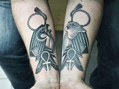 Incredible Anubis Tattoo Designs – An Egyptian Symbol of Protection Ankh Tattoo, Anubis Tattoo, Anubis Symbol, Horus Tattoo, Band Tattoos, Body Art Tattoos, Tattoo Art, Viking Tattoo Design, Viking Tattoos