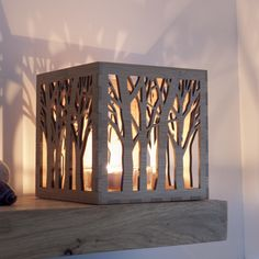 Tree Tea Light Box ... Wooden Tea Light Lantern / Holder With Tree Pattern ||| This beautiful tealight holder is made from eco-friendly moso bamboo, protected with linseed oil which also brings out the amazing grain and colour.