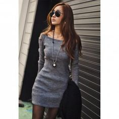 $7.09 Stylish Square Neck Shoulder Hollow Out Solid Color Long Sleeve Slimming Ribbed Cotton Dress For Women