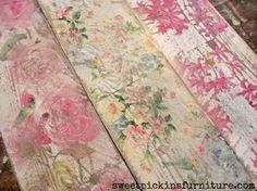 Sweet Pickins - how to decoupage napkins on wood. Most helpful tip is DON'T apply mod podge on top of the napkins if you want to distress it!