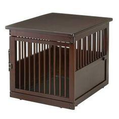 Archie & Oscar™ Archie Slide Aside Pet Crate & Reviews | Wayfair Dog Crate End Table, Wood Dog Crate, Dog Crates, Dog Training Equipment, Litter Box Enclosure, Easy Pets, Pet Furniture, Wood Slats, Dog Houses