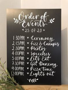 Excited to share this item from my shop: Wedding Order of Events Chalk Board Sign Customised Wedding Order Of Events, Order Of The Day Wedding, Order Of Wedding Reception, Unique Wedding Reception Ideas, Best Wedding Ideas, Simple Church Wedding, Wedding Order Of Service, Different Wedding Ideas, Trendy Wedding
