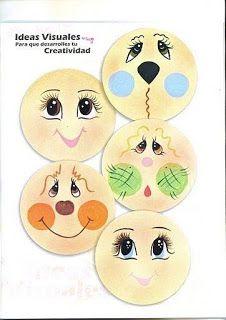 Minha Vida Emborrachada: Mais modelos de olhos para EVA! *****PARTE 2****** Clay Pot Crafts, Rock Crafts, Tole Painting, Diy Painting, Painted Pumpkins, Painted Rocks, Doll Face Paint, Cartoon Eyes, Snowman Faces