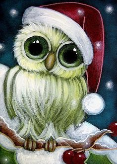holiday Owls  | Art: HOLIDAY TINY GREEN OWL WITH SANTA HAT by Artist Cyra R. Cancel