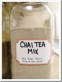 DIY Easy chai tea mix.    CHAI TEA MIX    1 cup dry powdered milk    1 cup non-dairy powdered coffee creamer    1 cup French Vanilla flavored non-dairy powdered coffee creamer    2 1/2 cups sugar    1 1/2 cups unsweetened instant tea    2 tsps. cinnamon    2 tsp. ginger    1 tsp. cloves    1 tsp. nutmeg    (Most recipes call for cardamom as an ingr