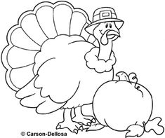 First Thanksgiving Coloring Pages See More Turkey Black And White Carson Dellosa Clipart