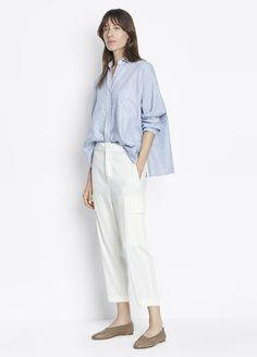 Cargo Pant for Women Blue Fashion, Autumn Fashion, Style Fashion, Trendy Outfits, Fashion Outfits, Fashion Trends, Fashion Ideas, Blue And White Striped Shirt, Minimal Fashion