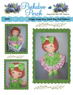 A sassy little sweetheart, proud of her snappy new ruffled dress with 3 different coordinating prints. Pattern includes doll, dress, bloomers, shoes and hair bows. This Easy Soft 15 inch Cloth Doll PDF Pattern includes dress, shoes, bloomers, hair bow and doll. **This is a pattern ONLY and not a completed doll** Very fast and easy to make. This is a PDF that can be downloaded immediately from PeekabooPorch on Etsy upon receipt of payment.