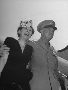 efcc71930d1 General Dwight D. Eisenhower and His Wife Posing Upon Arrival at Washington  Airport