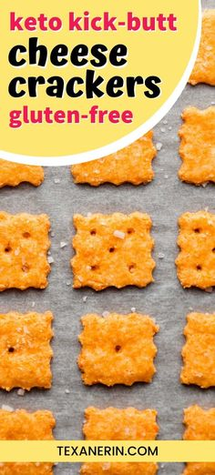 Keto Cheese Crackers (grain-free, gluten-free) – Texanerin Baking These keto cheese crackers are just as delicious as the traditional store-bought kind! Nobody will believe that these are low-carb, gluten-free and grain-free. Even better than cheez-its! Ketogenic Recipes, Low Carb Recipes, Diet Recipes, Snack Recipes, Ketogenic Diet, Ketogenic Breakfast, Breakfast Recipes, Diet Breakfast, Dessert Recipes