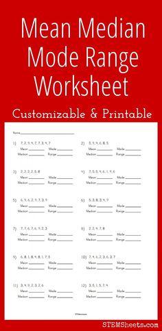 Customizable and printable Mean Median Mode Range Worksheet