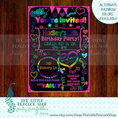Teen Tween Rainbow Glow Neon invitation! Digital and printable Sleepover- Dance- Skate- Birthday party Peace signs and doodles!