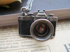 antique camera pendant necklace.