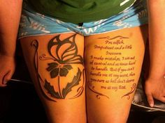 Image result for quote thigh tattoo design