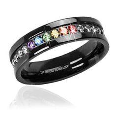 Black Titanium Full Clear & Rainbow String - Lesbian & Gay Engagment Wedding Ring