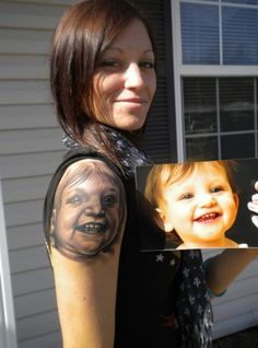 Seriously?! I hope that's not an actual tattoo, because it's creepy & not at ALL life-like or realistic.