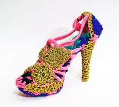 crocheted shoes by olek 'peeptoe shoe'  all images courtesy of jonathan levine gallery