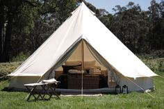 One of our fully furnished bell tents at Cosy Tents, Hepburn Shire