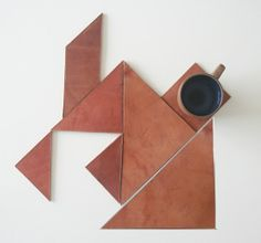Tangram Leather Coasters