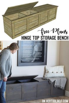 Cute storage bench with hinge top. Great for storing backpacks and supplies. Free build plans on hertoolbelt. storage bench entryway Backpack Storage Bench Plans - Her Tool Belt Storage Bench Seating, Entryway Bench Storage, Bench With Shoe Storage, Built In Bench, Diy Storage For Shoes, Diy Storage Ideas For Bedrooms, Bathroom Bench Storage, Diy Storage Bench Plans, Outside Storage Bench