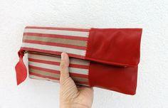 Embrague cuero en cuero rojo italiano y europeo raya por iragrant