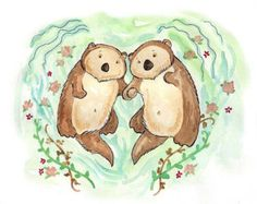 otters holding hands | Otters holding hands - otter print 8 x 10 inches ...