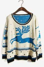 I want this sweater!!!!  Blue Long Sleeve Deer Print Pullovers Sweater $33.6