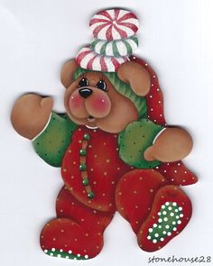 HP TEDDY BEAR with Peppermint Candies FRIDGE MAGNET #Handpainted